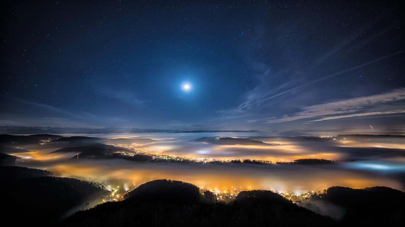 Beautiful Night In Swiss Nature Mountain Wallpaper