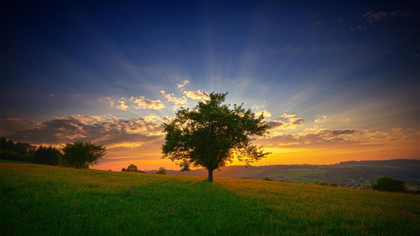 Beautiful Sunset, Swiss Landscape Nature Landscapes Wallpaper