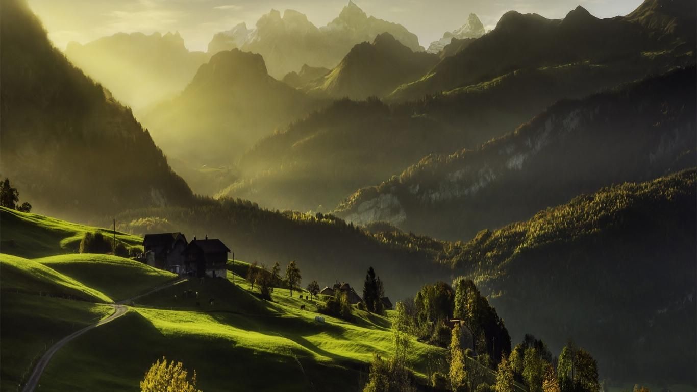 Exotic View of Green Alps Nature Mountain Wallpaper