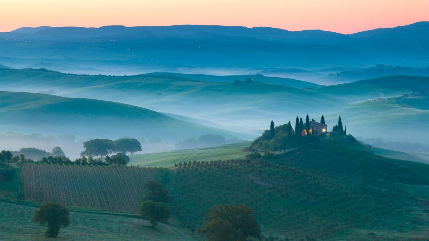 Italy, Sunrise Landscape Nature Landscapes Wallpaper