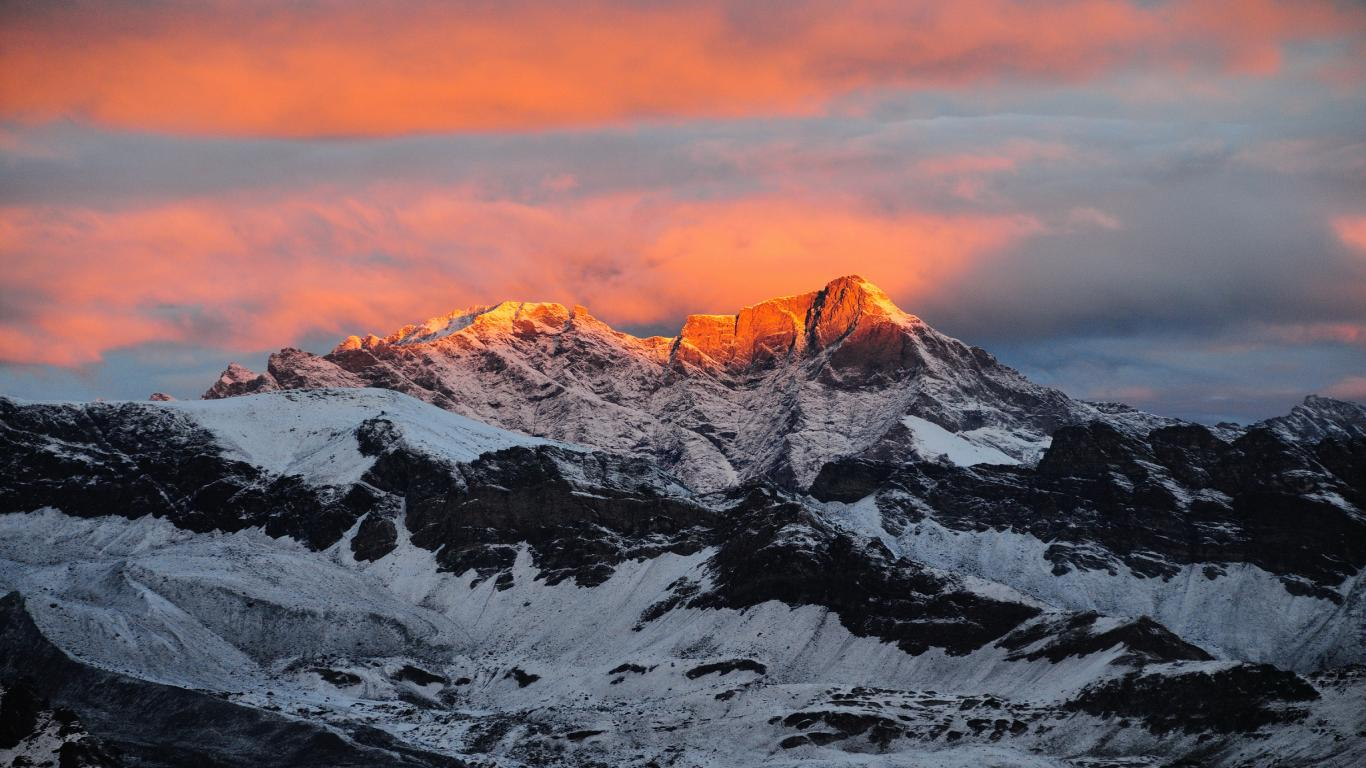 Italy, Sunset At Alps Nature Mountain Wallpaper