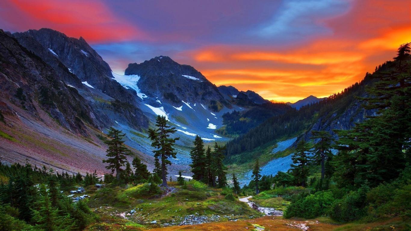 Sunset Over Swiss Alps Nature Mountain Wallpaper