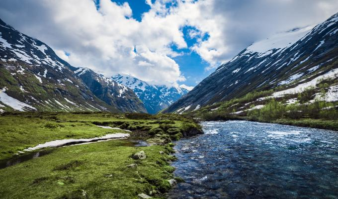 Awesome View of River &  Mountain Image