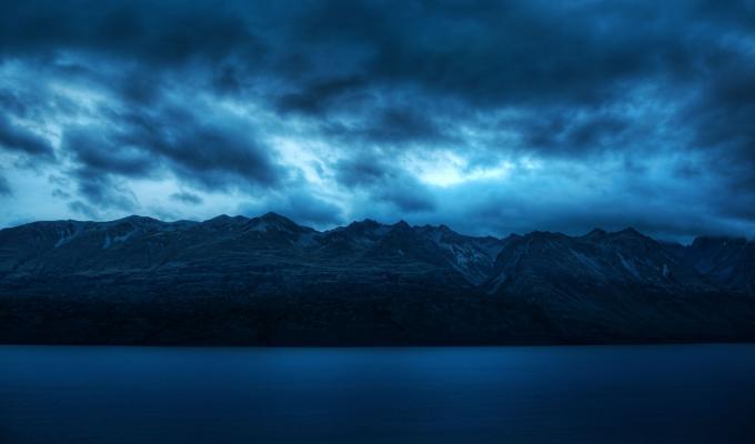 Beautiful Cloudy Dark Mountain Image