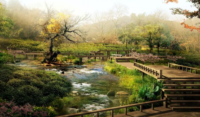 Beautiful Digital Japan Landscape Image