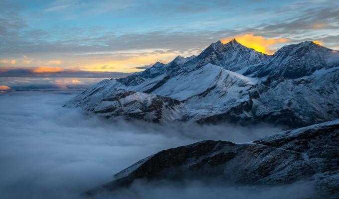 Beautiful Foggy Alps Mountain Image