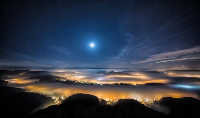 Beautiful Night In Swiss Mountain Image