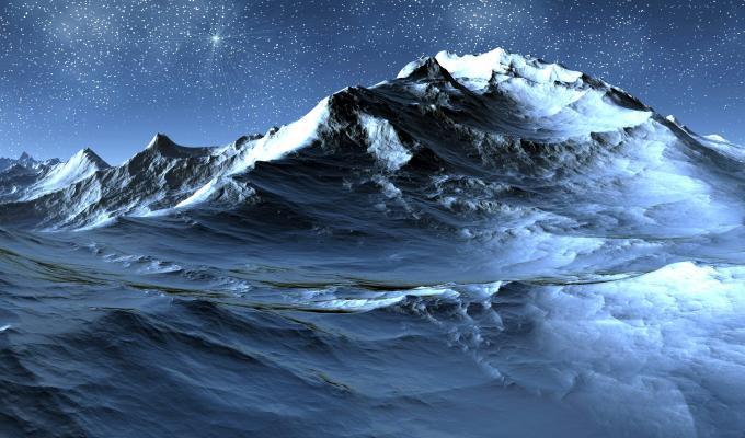 Beautiful Stars Over Mountain Image