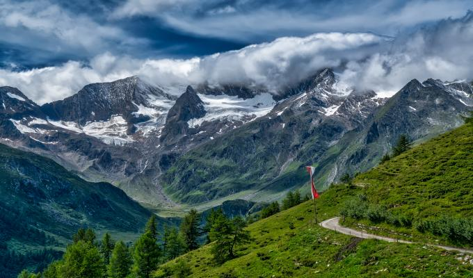 Cloudy Weather, Swiss Alps Mountain Image