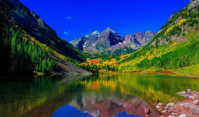 Colorado River and Mountain Image