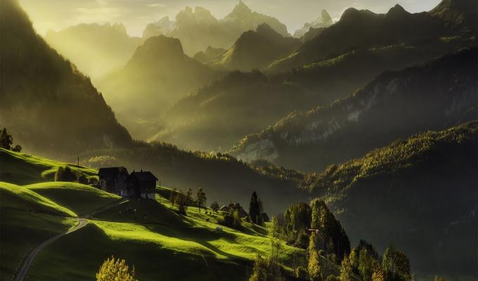 Exotic View of Green Alps Mountain Wallpaper