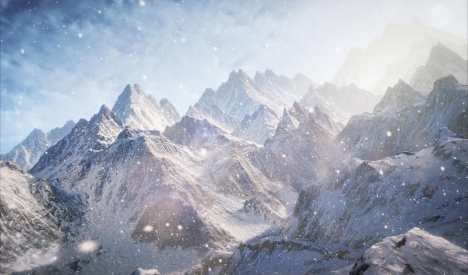 Exotic View of Snow, Clouds & Mountain Wallpaper