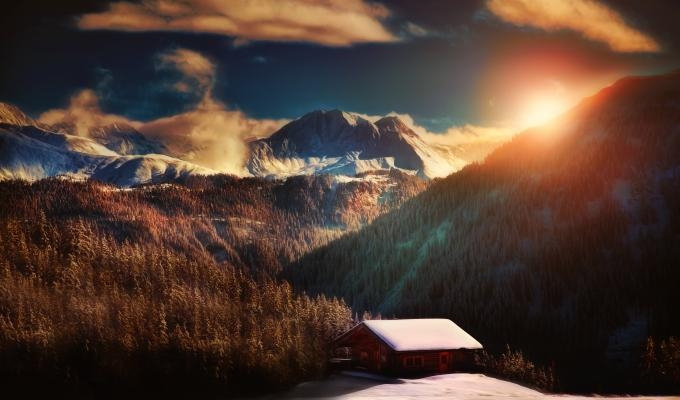 House & Beautiful Alps Mountain Image