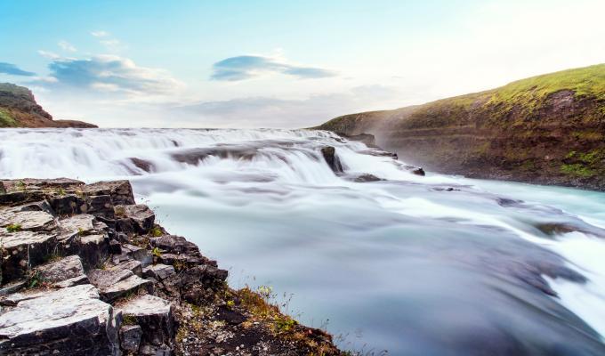 Iceland, Rocks, Stream &  Mountain Image