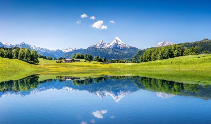 Lake, Trees & Alps Mountain Image