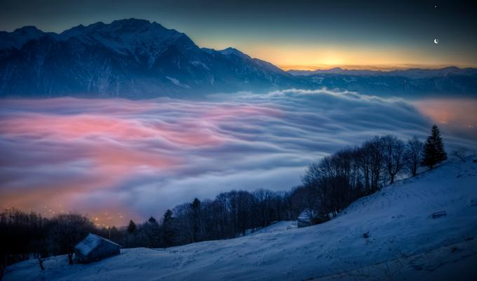 Lovely View, Fog on Mountain Image