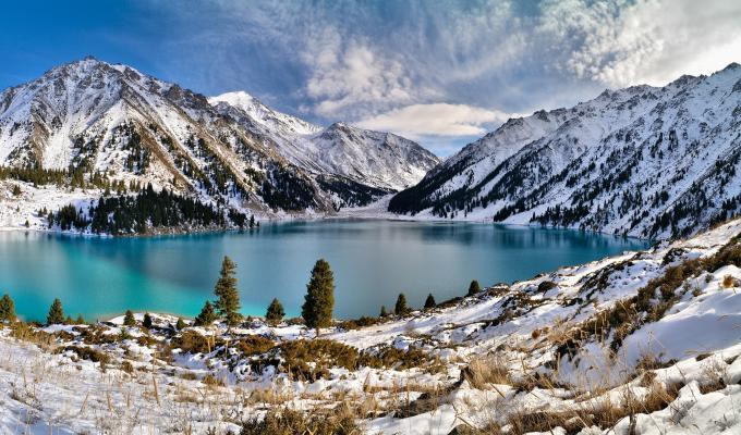 Lovely Winter, Lake,  Mountain Image