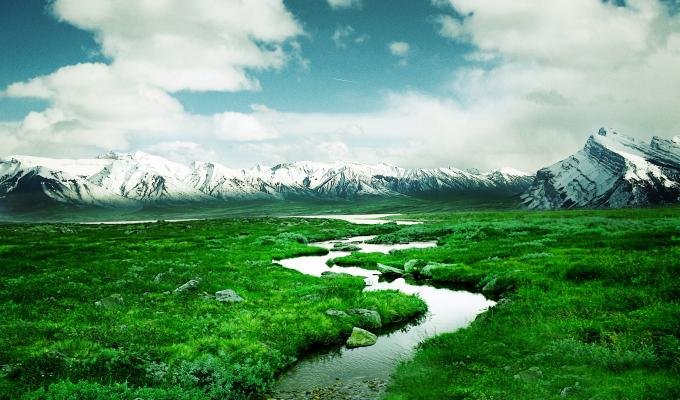Norway River and  Mountain Image