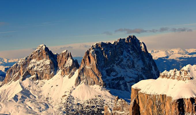 Top View of Rocky Snow Mountain Wallpaper